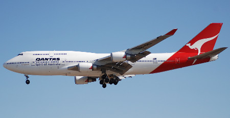 Boeing 747-400 in service with Qantas.
